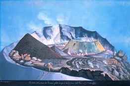 Gouache raffigurante il cratere del Vesuvio il 25 ottobre 1805. Si notano sul piano craterico visitatori e studiosi che osservano le manifestazioni del conetto intracraterico.
