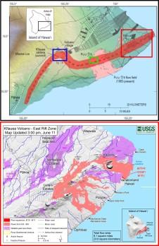 Mappa del Vulcano Kīlauea e ubicazione dei principali centri eruttivi. La striscia rossa rappresenta la rift zone, dove da secoli si concentra l'attività eruttiva e la deformazione del vulcano. I rettangoli racchiudono rispettivamente l'area sommitale del vulcano (in blu, dove è presente il cratere dell' Halema'uma'u), e lungo il rift Orientale, il Pu'u 'Ō'ō (in verde), e l'area della Lower East Rift Zone dove attualmente sono attive le eruzioni.