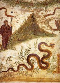 figura 1 - Affresco della Casa del Centenario a Pompei, attualmente al Museo Archeologico Nazionale di Napoli. Il monte raffigurato è presumibilmente il Vesuvio come appariva prima dell'eruzione del 79 d.C. (fonte immagine: https://it.wikipedia.org/wiki/File:Pompeii_-_Casa_del_Centenario_-_MAN.jpg).