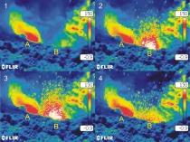 Immagini termiche di un'esplosione stromboliana , localizzata sul fondo del cratere Bocca Nuova, mostrata in sequenza (da 1 a 4). Sul fondo del cratere sono attive due bocche (A e B), che proiettano in aria brandelli di lava incandescente fino ad alcune decine di metri di altezza. Le immagini si riferiscono al 17 luglio 2018 e sono state riprese da Giuseppe Salerno (INGV-OE) durante un sopralluogo di monitoraggio diretto dell'attività eruttiva dell'Etna.