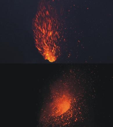 Esplosioni stromboliane avvenute sul fondo del Cratere di Nord-Est e riprese il 20 e 21 luglio 2018 da Michele Mammino, che si ringrazia per la concessione. Sul fondo del cratere sono presenti tre bocche di cui una proietta in aria brandelli di lava incandescente fino ad alcune decine di metri di altezza.