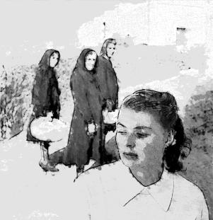 Ingrid Bergman a Stromboli, nel 1949, attrae la curiosità delle donne del luogo (rielaborazione con tecnica ad acquarello di una foto di Gordon Parks - The LIFE Picture Collection/Getty Images). Rossellini, raccontò Parks, «ruled the island like a dictator».
