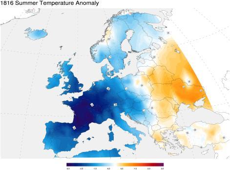 Figura 5 - Variazione della temperatura estiva misurata in Europa nel 1816, rispetto alla media climatica del periodo calcolata fra gli anni 1971 e il 2000. Le aree in blu hanno registrato temperature più basse fino a 3.5°C (immagine tratta da Luterbacher et al., 2004).