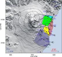 Figura 4 - Prima definizione dei blocchi cinematici in cui il fianco orientale dell'Etna sembra suddiviso, in base alle misure degli spostamenti ottenute dal 1997 al 1998 con campagne di misura GPS. La lunghezza delle frecce è proporzionale alla velocità, secondo la scala riportata. Il cerchio all'estremità di ogni freccia rappresenta l'errore della misura. Figura tratta da Bonforte e Puglisi (2006).