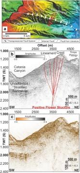 Figura 8 - Dettaglio e sezione del canyon di Catania nell'area in cui è stata installata la rete sottomarina. La figura (a) in alto mostra in mappa la morfologia del fondale; la figura (b) mostra il profilo di sismica attiva, lungo la sezione indicata in rosso nella mappa, mettendo in evidenza la struttura interna del corpo roccioso, con l'interpretazione delle strutture che lo tagliano (in rosso); la figura (c) riporta l'ampiezza del segnale sismico riflesso. La struttura ipotizzata in rosso in Figura (b) potrebbe essere la prosecuzione della faglia di Acitrezza.