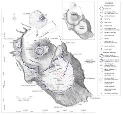 Carta schematica morfo-strutturale (De Astis et al., 2013) ottenuta attraverso rilievi sul terreno e anlilisi d'immagine, e basata su un DEM (Digital Elevation Model) da Baldi et al. (2002).