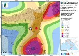 Localizzazione dell'evento sismico (stella bianca) di magnitudo ML 3.5 sovrapposta alla mappa di pericolosità sismica del territorio nazionale.