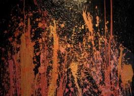 """Figura 3 - Marco Favata, """"Esplosioni vulcaniche"""", 2018 Cemento, vinavil e acrilico su tela."""