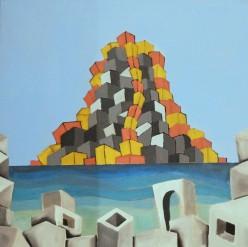 """Figura 5 - Massimiliano Scuderi, """"Isola vulcanica e strutture"""", 2018 Pittura acrilica su tela."""