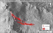 Mappa preliminare dei prodotti eruttati nel corso dell'eruzione del 24-27 dicembre 2018. La base topografica utilizzata è stata prodotta dal TECNOLAB dell'INGV Sezione di Catania Osservatorio Etneo, Laboratory for Technological Advance in Volcano Geophysics. Le sigle riportate in alto a sinistra identificano i diversi crateri sommitali (NEC = Cratere di Nord-Est, VOR = Voragine, BN = Bocca Nuova, SEC = Cratere di Sud-Est, NSEC = Nuovo Cratere di Sud-Est).