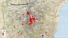 Figura 4 – Mappa epicentrale dei terremoti più energetici registrati a partire dal 24 dicembre 2018. Il terremoto registrato alle 03:19 di oggi, di magnitudo Ml 4.8, è riportato con il rombo blu.