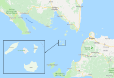 Figura 1 - Mappa dello Stretto della Sonda, che mostra la posizione del vulcano Anak Krakatau e delle aree maggiormente colpite dalle onde dello tsunami del 22 dicembre 2018.