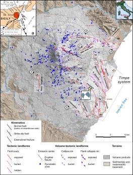 Figura 1 – Carta vulcano-tettonica dell'Etna (da Azzaro et al., 2012). Sistemi di faglia (sigle): a, Ragalna; b, Tremestieri-Trecastagni-S. Gregorio; c, Ripe della Naca-Piedimonte-Calatabiano; d, Pernicana; AC, Acicatena; AP, Aciplatani; AT, Acitrezza; CA, Calcerana; FF, Fiumefreddo; MC, Mt. Cicirello; PD, Piedimonte; PL, Punta Lucia; PN, Pizzi Deneri; PT, Praiola-Torre Archirafi; SA, S. Alfio; SB, Serra S. Biagio; SG, S. Gregorio; SV, S. Venera; TD, Tardaria. Meccanismo focale e localizzazione (stella gialla) del terremoto del 26 dicembre 2018 da http://cnt.rm.ingv.it/event/21285011. La mappa piccola (a) illustra il contesto tettonico regionale. Legenda: AMT, fronte della Catena Appennino-Maghrebide; ME, Scarpata di Malta; TF, Faglia di Taormina.